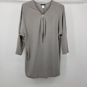 VENUS Grey Zip V-Neck Tunic